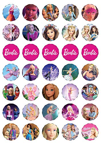 30 x Barbie Edible Mini Cupcake Toppers: 30 Uncut Colorful Eatable Round Printed Sticker Decals on Wafer Sheets, Cake Decorating, 1.4 Inch Diameter