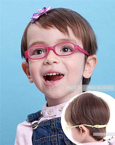 EnzoDate Baby Optical Glasses Frame Size 40 with Strap Bendable Boys Girls Infants Eyeglasses (rose)