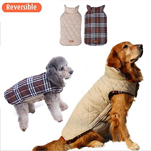 Dog Vest Winter Coat Windproof Reversible British style Plaid Warm Clothes for Cold Weather Dog Jacket for Small Medium Large dogs with Furry Collar (XXL: Back: 18.5