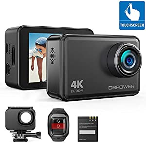 DBPOWER EX7000 Sports Action Camera 4K, 14MP Touchscreen Waterproof Camera 170 Degree Wide Angle 2.4G Remote Control and…