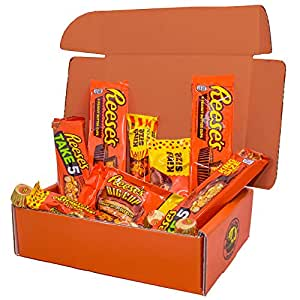 Gift Box (2.5 lb) of Reeses Chocolate Candy Assortment: Take 5, Outrageous!, Peanut Butter Big Cups , Reeses Peanut Butter Cups, and Reese's Pieces Mix Variety Pack