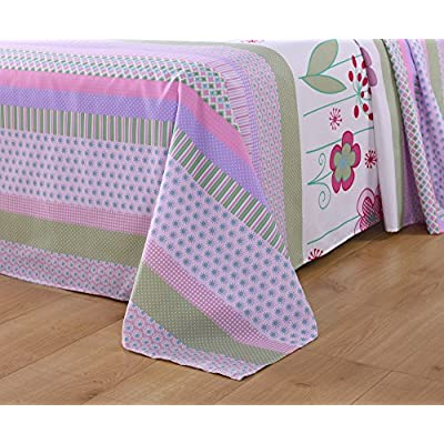 MarCielo Bed Sheets for Kids Twin Full Sheets for Kids Girls Boys Teens Children Sheets Soft Fitted Flat Printed Sheet Pillowcase Kids Bedding Bunk Beds Set Purple Floral A14: Home & Kitchen