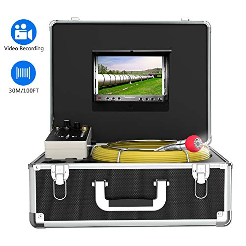 Endoscope Camera, 30M/100ft Pipe Camera 7 inch LCD Monitor Scope CameraDuct HVAC 1000TVL Sony CCD Borescope Sewer Camera Waterproof IP68Pipeline Inspection Snake Cam (7D1N-30M-With DVR)