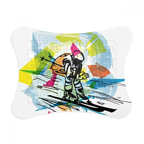 Winter Sport Freestyle Skiing Illustration Paper Card Puzzle Frame Jigsaw Game Home Decoration Gift