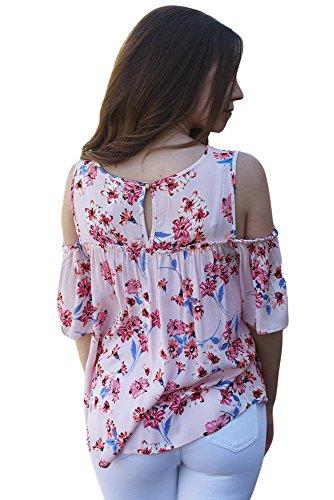 New bianco freddo spalla rosa floreale camicetta estate camicia top casual Wear taglia UK 8EU 36
