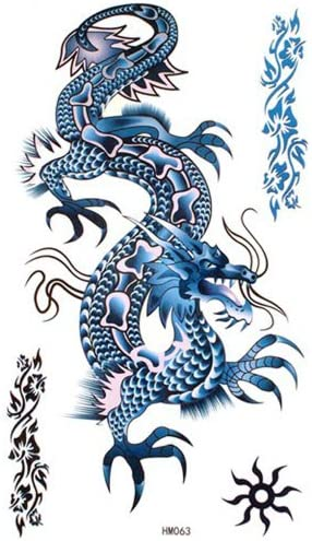 King Horse Blue Dragon Temporary Tattoos Waterproof Cool and ...