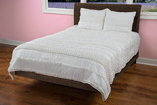Rizzy Home Georgette 2-Piece Quilted Bed Set, Ivory, (Georgette Two Piece)