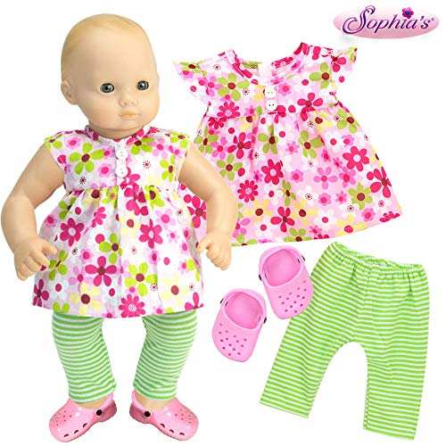 15 Inch Baby Doll Complete Outfit with Sandals, Floral Blouse, Striped Leggings and Sandals