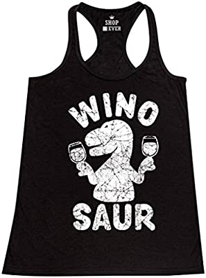 Shop4Ever® Wino Saur Women's Racerback Tank Top Funny Tank Tops XX-LargeBlack 0