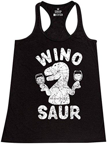 Shop4Ever Wino Saur Women's Racerback Tank Top Funny Tank Tops XX-LargeBlack 0
