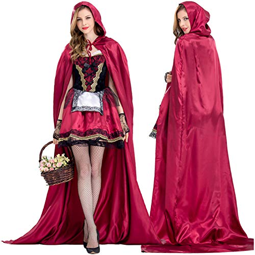 Little Red Riding Hood Costume for Women Halloween Cosplay Dress Up (M, Red) -