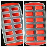 SET OF 3 Easy push Pop Out Ice Cube Trays with flexible silicone bottom (Ships From USA) (Square)