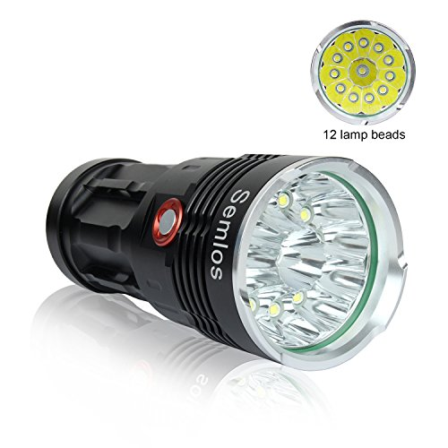 Led Flashlight 10000 Lumens, Semlos 12xCREE XM-L T6 LED 3 Modes Super Bright LED Flashlight Waterproof Camping Torch with 4x18650 lithium batteries and AC Battery Charger