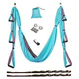 Cheap AUKIEE Yoga Swing/Hammock/Trapeze/Sling for Antigravity Yoga Inversion Exercises-(6 in 1) 2 Mounting Sets/2 Extension Straps/Free Vedio in USB Flash Drive (Blue/Charcoal Grey)