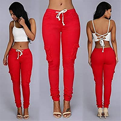 Andongnywell Womens Solid Color Drawstring Skinny Pants Stretch Cargo Joggers Casual Pockets Pants Tie Butt Lift Pant: Clothing
