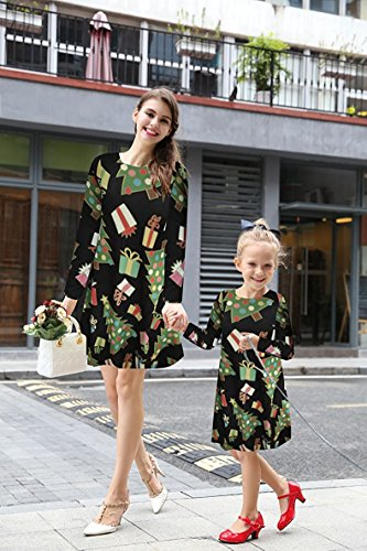 Tipo Nieve Impresión Camiseta Largas Navidad Minetom Dress Mujer Niñas A de Swing Line E Calabaza Mangas Ropa para Vestido TOBTPwq