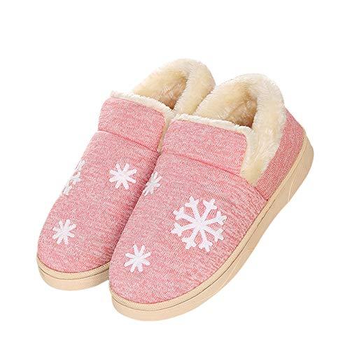Ymysfit Coton Couleur Hiver Simple Chaud Mode Unie en Chaussons Pantoufles Imprimé Rose Neige Unisexe RxRwU