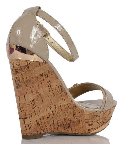 Läckra Kvinna Nicoya Patent Konstläder Bred Rem Kork Plattform Ankelbandet Wedge