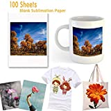 """Sublimation Paper 100 Sheets Sublimation Ink Transfer Paper 8.27"""" x 11.7"""" for Heat"""