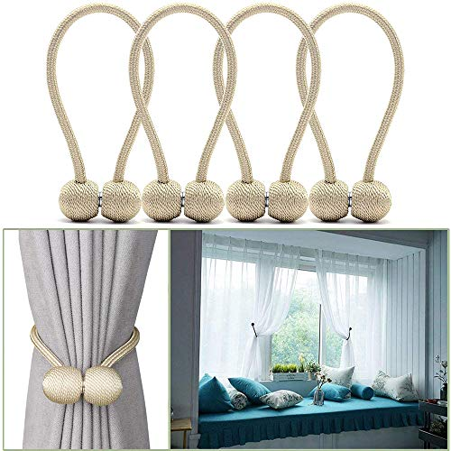 YIDIE 4 Pieces Curtain Tiebacks,Classic Strong Magnetic Window Holdbacks,Home Office Decorative Drapes Holders,Beige/2 Pair