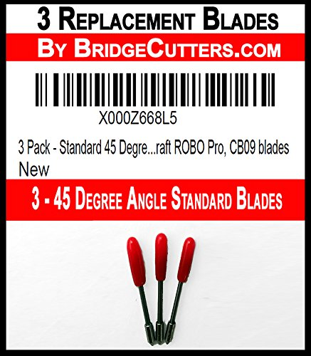 3 Pack - Standard 45 Degree Angle Replacement Cutting Blades for Craft Cutting Machines, Silhouette, Cameo, Graphtec Craft ROBO Pro, CB09 blades by Bridge Cutters