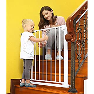Baby Gates for Stairs and Doorways Dog Gates for The House, 30-40.5 inches - Indoor Safety Gates for Kids or Pets, Walk Through Extra Wide Tall Metal Gate Pressure Mount Auto Close