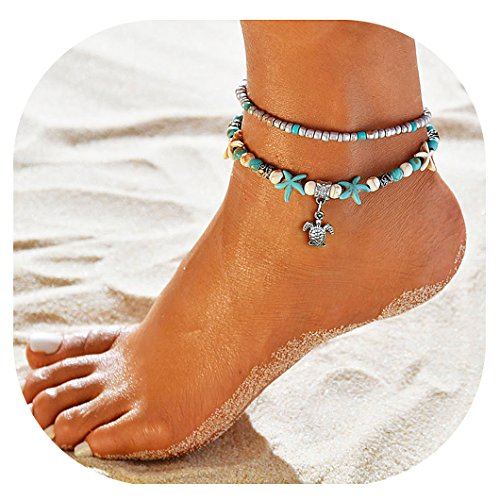 Suyi Girl Layered Anklets Turquoise Beads Sea Turtle Anklets Adjustable Starfish Beach Foot Chains Jewelry for Women SeaTurtle - Turquoise Ankle Bracelet Anklet