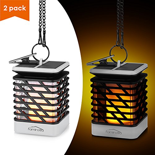 Solar Lantern Outdoor Hanging 2 Pack, Famirosa Garden Lights Solar Powered Flame Torch Lanterns for Pathway Garden Deck Waterproof