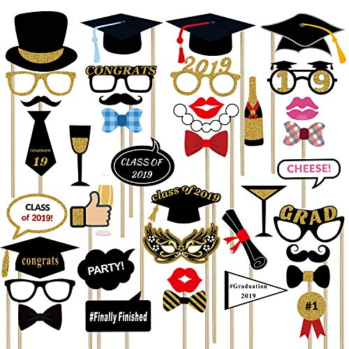 2019 Graduation Photo Booth Props(39pcs) for Graduation Party Supplies,Class of 2019 Grad Decor with Sticks for Kids Boy Girl,Black,Red and Gold, for Graduation Party Favors -
