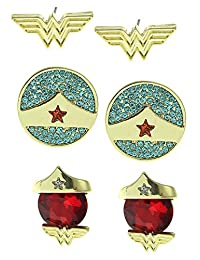 Officially Licensed DC Comics Wonder Woman Earrings Set of 3