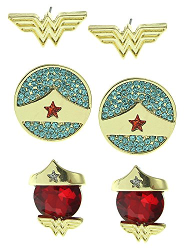 DC Comics Wonder Woman 3 Pair Stud - Woman Earrings Wonder