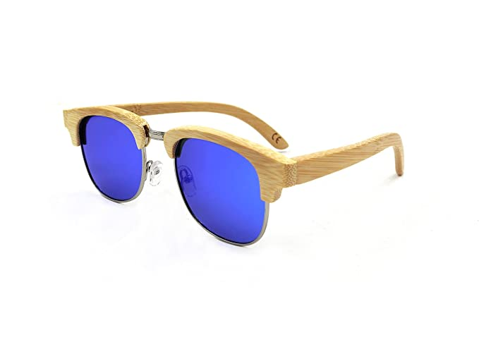 LiHOOD Gafas de sol de madera medio marco HandCraft natural ...