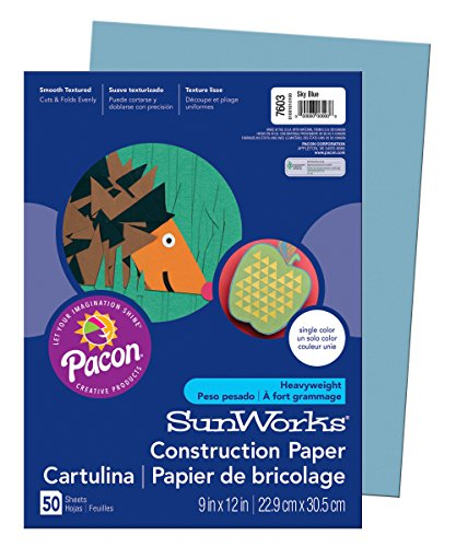 Construction Paper 9x12 Light - SunWorks Construction Paper, Sky Blue,  9