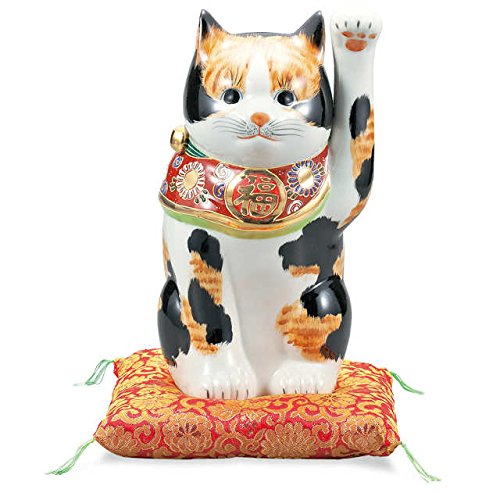 "Japanese drawn Ceramic Porcelain kutani ware. Fortune cat. Lucky cat. Beckoning cat. Tortoiseshell."" Japanese ceramic Hagiyakiya 1419"