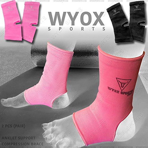 WYOX Foot Guard Ankle Support MMA Boxing Compression Brace Wrap Thai UFC Gym USA (Pink, Adult) ()