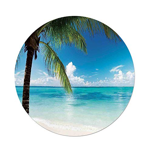 Polyester Round Tablecloth,Ocean,Exotic Beach Water and Palm Tree by the Shore with Clear Sky Landscape Image Decorative,Green Blue White,Dining Room Kitchen Picnic Table Cloth Cover,for Outdoor Indo