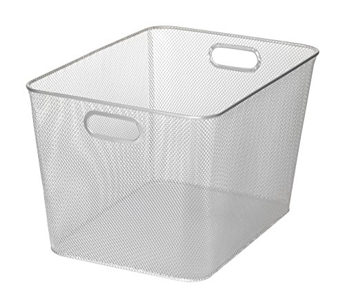 Silver Mesh Open Bin Storage Basket for Cleaning Supplies Laundry Etc. Size 14x10x9 Model #1115 (14 Basket)