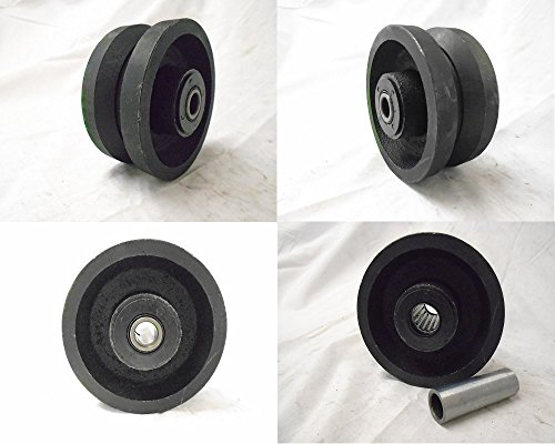 "4"" X 2"" V-groove 7/8"" Iron Steel Caster Wheel 600lbs Each"