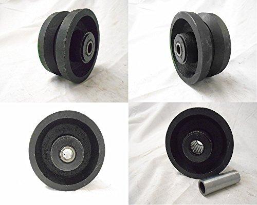 "4"" X 2"" V-groove 7/8"" Iron Steel Caster Wheel 600lbs Each"