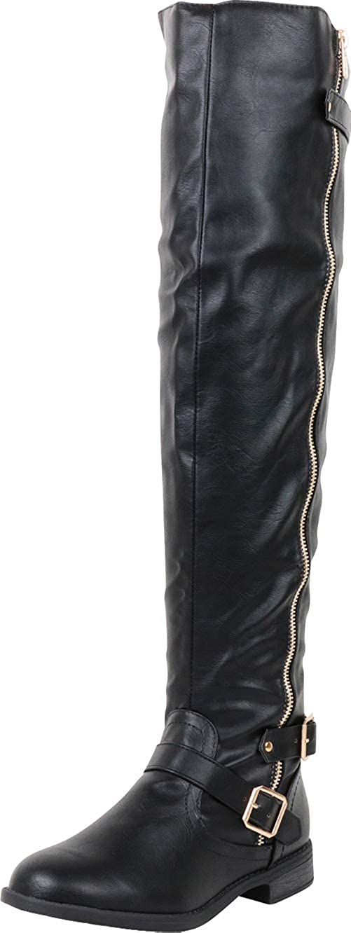 Cambridge Select Womens Thigh-High Strappy Buckle Over The Knee Riding Boot