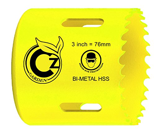 3-Inch Standard Bi-Metal HSS Hole Saw Cup with Speed Slot for Easy Plug Removal. Positive Rake Teeth, Longer Life, Easier Cutting. Superior to Standard Cobalt. By Cz Garden - Metal Bi Hss Metal