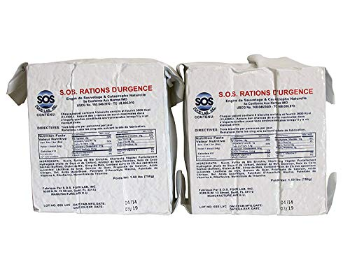 SOS Food Labs 185000826 Emergency 3600 Calorie Food Bar (Pack of 2)