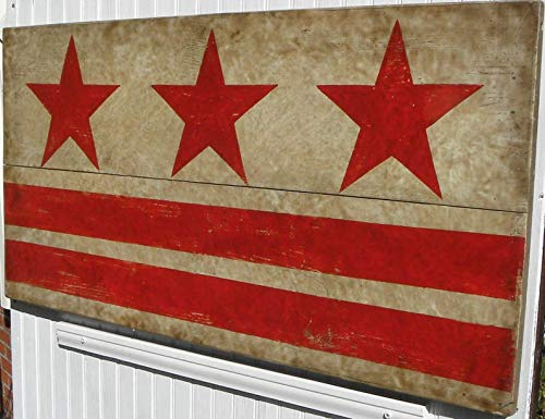 (DC Flag Sign Original Hand Painted stars and stripes for the District of Columbia flag. Cool focal point art over a fireplace or dining room)