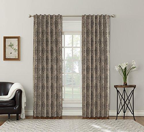 Sun Zero Sagan Damask Blackout Lined Back Tab Curtain Panel, 52″ x 95″, Linen Beige