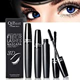 Beauty : 3D Fiber Lashes Mascara, Waterproof & Long Lasting, 3 Steps Easy to Apply for Thicker & Longer Lashes, Non-Toxic Hypoallergenic Ingredients (Black)