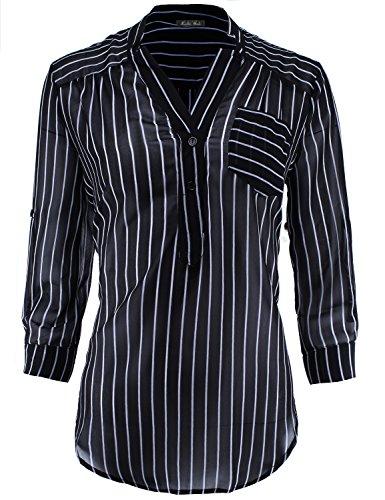 [3/4 Sleeve Lightweight Sheer Chiffon Stripe Henley Blouse Black White 2XL Size] (Black And White Cape)