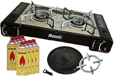Doble Hornillo de gas 2 focos camping hervidor hervidor 2 2 X 2,3 kW + Parrilla parrilla + 8 x Cartuchos de Gas + Phönix Cocina de gas Cruz