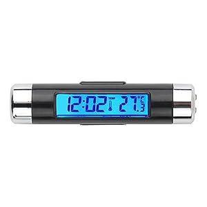 GCARTOUR Car Clock Thermometer Dash Air Vent Automotive Thermometer Time Temperature LCD Digital Backlight Calendar