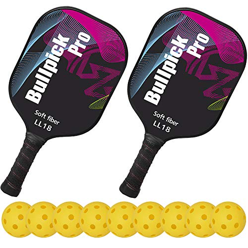 Bullpickpro Pickleball Paddle Sets-Composite Fiber Face and PP Honeycomb Core Pickleball Racquet,Lightweight(The Average of 7.2oz) Edge Guard Balanced Pickleball Rackets with 9 Pickleballs,Purple