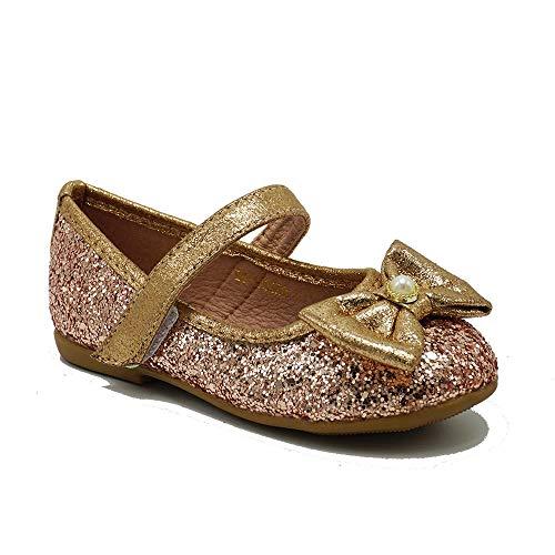 Ballerina Flat - Little Girls Glitter Mary Jane Ballerina Flats Toddler/Little Kid Princess Dress Party Shoes CY02 Gold 6